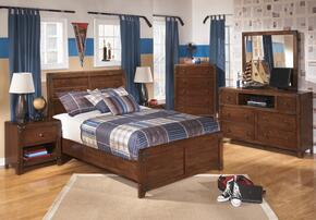 Delburne Full Bedroom Set with Panel Bed, Dresser, Mirror and Nightstand in Medium Brown