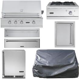 "7-Piece Stainless Steel Outdoor Kitchen Package with VGBQ53624NSS 36"" Natural Gas Grill, Outdoor Refrigerator, Side Burner, Warming Drawer, Storage Drawer, Single Access Door, and Grill Cover"