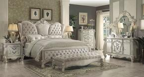 Versailles Collection 21127EK6PC Bedroom Set with King Size Bed + Dresser + Mirror + Chest + Nightstand + Bench in Bone White Color