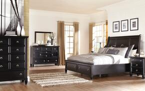 Greensburg King Bedroom Set with Storage Bed, Dresser, Mirror and Chest in Black