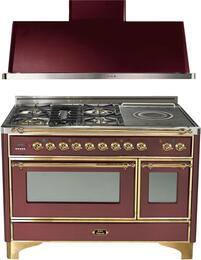 "2-Piece Burgundy Kitchen Package with UM120SDMPRB 48"" Freestanding Dual Fuel Range (Brass Trim, 5 Burners, French Cooktop) and UAM120RB 48"" Wall Mount Range Hood"