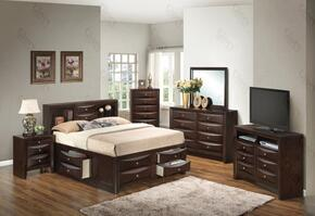 G1525GKSB3NTV2 3 Piece Set including  King Size Bed, Nightstand and Media Chest in Cappuccino