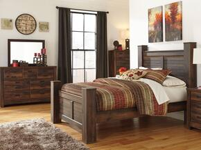Quinden Queen Bedroom Set with Poster Bed, Dresser, Mirror and Chest in Dark Brown