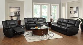 60106SET 3 PC Living Room Set with Sofa + Loveseat + Recliner in Black Color