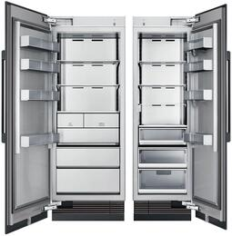 """54"""" Panel Ready Side-by-Side Column Refrigerator Set with DRZ30980LAP 30"""" Left Hinge Freezer, and DRR24980RAP 24"""" Right Hinge Refrigerator"""