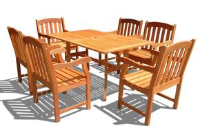 V187SET27 Outdoor Rectangular Curvy Dining Set 27