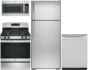 "4-Piece Stainless Steel Kitchen Package with GTE18GSHSS 28"" Top Freezer Refrigerator, JGB635REKSS 30"" Freestanding Gas Range, GDF510PSJSS 24"" Full Console Dishwasher and JVM7195SKSS 30"" Over-the-Range Microwave"