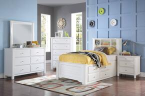 Mallowsea 30415FSET 5 PC Bedroom Set with Full Size Bed + Dresser + Mirror + Chest + Nightstand in White Finish