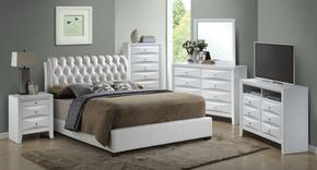 G1570CFBUPSET 6 PC Bedroom Set with Full Size Bed + Dresser + Mirror + Chest + Nightstand + Media Chest in White Color