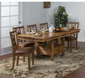 Sedona Collection 1177RODT8C 9-Piece Dining Room Set with Dining Table and 8 Chairs in Rustic Oak Finish