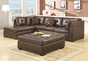 Darie 500686SET 2 PC Living Room Set with Sectional Sofa + Ottoman in Brown Color