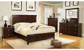 Spruce Collection CM7113CHQBDMCN 5-Piece Bedroom Set with Queen Bed, Dresser, Mirror, Chest, and Nightstand in Brown Cherry Finish