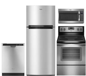 "4 Piece Stainless Steel Kitchen package With WFE515S0ES 30"" Electric Range, WMH31017FS Over The Range Microwave Oven, WRT518SZFM Top Freezer Refrigerator and WDF520PADM 24"" Built In Dishwasher"