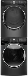 "Black Diamond Front Load Laundry Pair with WFW92HEFBD 27"" Washer, WED92HEFBD 27"" Electric Dryer and W10869845 Stacking Kit"