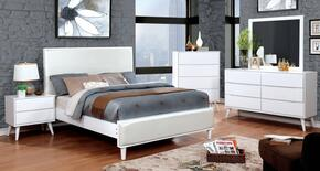 Lennart II Collection CM7387WHEKBEDSET 5 PC Bedroom Set with Eastern King Size Panel Bed + Dresser + Mirror + Chest + Nightstand in White Finish