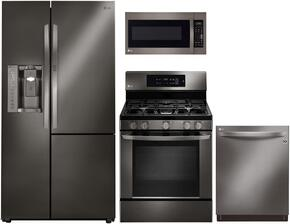 "4 Piece Kitchen package With LRG3061BD 30"" Gas Range, LMV2031BD Over The Range Microwave Oven, LSXS26386D 36"" Side By Side Refrigerator and LDT9965BD 24"" Built In Dishwasher In Black Stainless Steel"