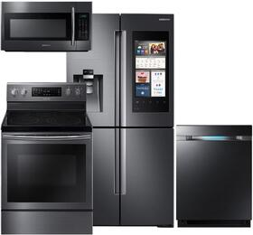 "4-Piece Black Stainless Steel Kitchen Package with RF22M9581SG 36"" French Door Refrigerator, NE59J7630SG 30"" Electric Range, DW80M9550UG 24"" Fully Integrated Dishwasher and ME18H704SFG 30"" Over-the-Range Microwave"
