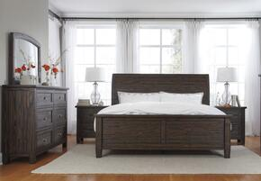 Trudell Queen Bedroom Set with Panel Bed, Dresser, Mirror and Single Nightstand in Dark Brown