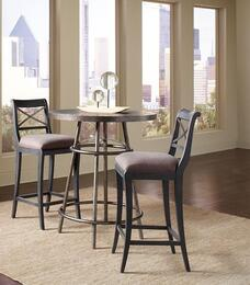 Vintage Tempo 402244SETA 3 PC Bar Table Set with Pub Table + 2 Bar Stools in Black Color