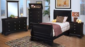 00013FYSBDMCN Belle Rose Youth 5 Piece Bedroom Set with Full Sleigh Bed, Dresser, Mirror, Chest and Nightstand, in Black Cherry