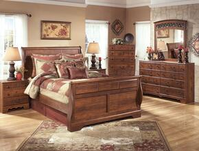 Atkins Collection Queen Bedroom Set with Sleigh Bed, Dresser, Mirror and Nightstand in Warm Brown
