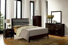 Janine Collection CM7868FBEDSET 5 PC Bedroom Set with Full Size Panel Bed + Dresser + Mirror + Chest + Nightstand in Espresso Finish