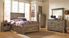 Trinell Full Bedroom Set with Panel Bed with Drawers, Dresser, Mirror, Nightstand and Chest in Brown