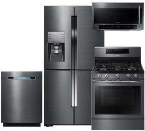 "4-Piece Black Stainless Steel Kitchen Package with RF23J9011SG 36"" 4-Door French Door Refrigerator, NX58J7750SG 30"" Gas Range, DW80J7550UG 24"" Fully Integrated Dishwasher and ME21H706MQG 30"" Over the Range Microwave"