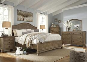 Trishley Queen Bedroom Set with Panel Bed, Dresser, Mirror, 2x Nightstands and Chest in Light Brown