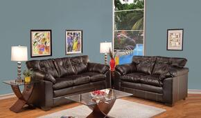 Hayley 50355SL 2 PC Living Room Set with Sofa + Loveseat in Premier Chocolate Color