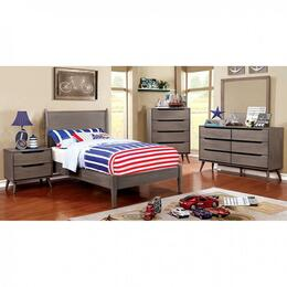 Lennart Collection CM7386GYTBEDSET 5 PC Bedroom Set with Twin Size Panel Bed + Dresser + Mirror + Chest + Nightstand in Grey Finish