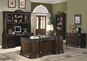 Tucker 800800SETA 5 PC Home Office Set with Executive Desk + Credenza Desk + Hutch + File Cabibet + Bookcase in Rich Brown Finish