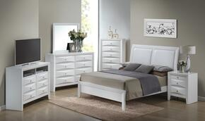 G1570AFBSET 6 PC Bedroom Set with Full Size Bed + Dresser + Mirror + Chest + Nightstand + Media Chest in White Finish