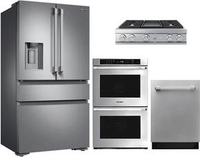 "4-Piece Stainless Steel Kitchen Package with DRF36C100SR 36"" French Door Refrigerator, DTT36M974AS 36"" Liquid Propane Rangetop, RNWO227FS 27"" Double Wall Oven, and DDW24S 24"" Fully Integrated Dishwasher"