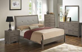 G1205AKBDMN 4 Piece Set including  King Bed, Dresser, Mirror and Nightstand  in Grey