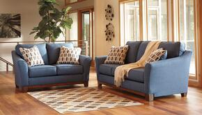 Janley 43807SL 2-Piece Living Room Set with Sofa and Loveseat in Denim