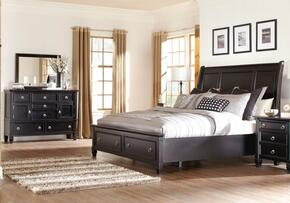 Greensburg Queen Bedroom Set with Storage Bed, Dresser and Mirror in Black