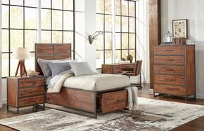 Studio 16 Collection 1663656667KT5SET 5 PC Bedroom Set with Twin Size Storage Bed + Chest + Nightstand + Chair + Desk in Wire Brushed Finish