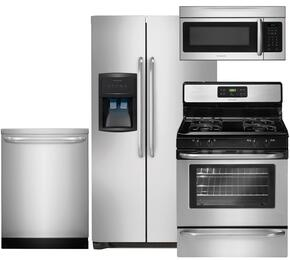 "4-Piece Stainless Steel Kitchen Package with FFHS2622MS 36"" Side-by-Side Refrigerator, FFGF3053LS 30"" Freestanding Gas Range, FFID2423RS 24"" Full Console Dishwasher and FFMV164LS 30"" Over the Range Microwave"