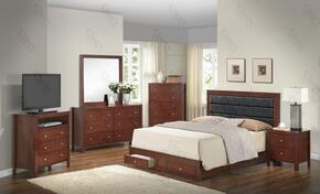 G2400CFSBSET 6 PC Bedroom Set with Full Size Panel Bed + Dresser + Mirror + Chest + Nightstand + Media Chest in Cherry Finish