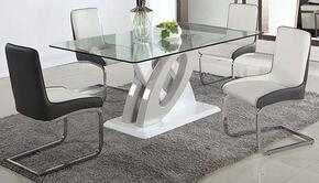 Stella Collection STELLA-5PC Dining Room Set with Dining Table + 4 Side Chairs in White Finish
