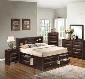 G1525GFSB3DMN 4 Piece Set including  Full Size Bed, Dresser, Mirror and Nightstand in Cappuccino