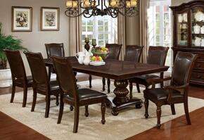 Alpena Collection CM3350T6SC2AC 9-Piece Dining Room Set with Rectangular Table, 6 Side Chairs and 2 Arm Chairs in Brown Cherry Finish