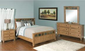Sedona Collection 2334ROQBDMN 4-Piece Bedroom Set with Queen Bed, Dresser, Mirror and Nightstand in Rustic Oak Finish