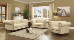 Victoria Collection G758SET 3 PC Living Room Set with Sofa + Loveseat + Armchair in Light Beige Color