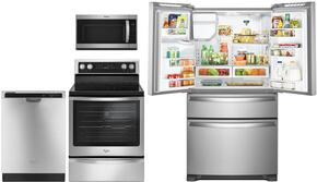 """4 Piece kitchen Package with WFE745H0FS 30"""" Electric Freestanding Range, WMH32519FS Over the Range Microwave Oven, WDT780SAEM 24"""" Built In Full Console Dishwasher and WRX735SDBM  36"""" French Door Refrigerator in Stainless Steel"""