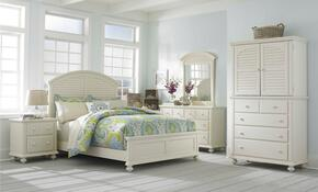 Seabrooke 4471KPBNMCDM 5-Piece Bedroom Set with King Panel Bed, Nightstand, Media Chest, Dresser and Mirror in Cream Finish