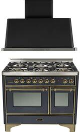 """2-Piece Matte Graphite Kitchen Package with UMD1006DMPMY 40"""" Freestanding Dual Fuel Range (Oiled Bronze Trim, 6 Burners, Timer) and UAM100M 40"""" Wall Mount Range Hood"""
