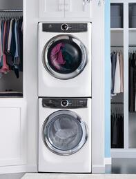 "White Front Load Laundry Pair with EFLS617SIW 27"" Washer, EFME617SIW 27"" Electric Dryer and STACKIT7X Stacking Kit"