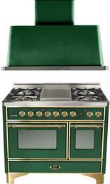 "2-Piece Emerald Green Kitchen Package with UMD100FDMPVS 40"" Freestanding Dual Fuel Range (Brass Trim, 4 Burners, Griddle) and UAM100VS 40"" Wall Mount Range Hood"